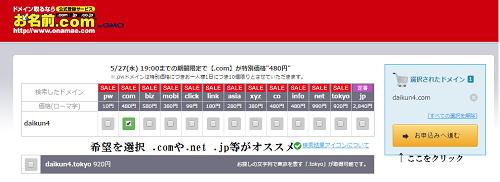 お名前.com ドメイン取得方法 2
