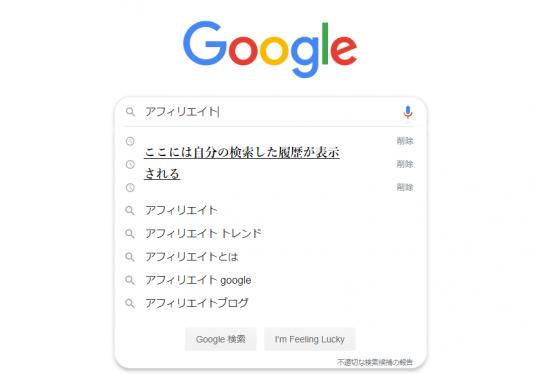 Googleサジェストキーワード例