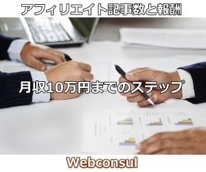 アフィリエイト記事数と月収10万円